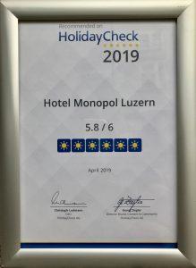 HolidayCheck-Auszeichnung 2019 für Hotel **** MONOPOL Luzern!