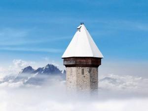 Winter Tell-Pass mit freier Fahrt auf die nahen Ausflugsberge und Sicht aufs Nebelmeer...