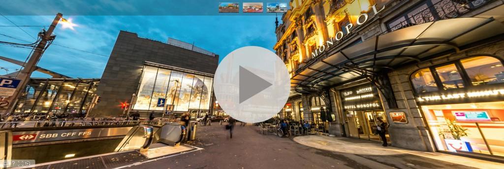 Hotel MONOPOL Luzern mit 360° Panoramabild: Auf Bild klicken und 360° Panorama Tour geniessen...